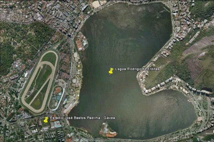 Le lac Rodrigo de Freitas, près du stade da Gávea