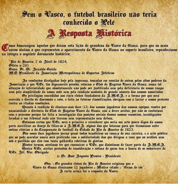 la réponse historique de Vasco