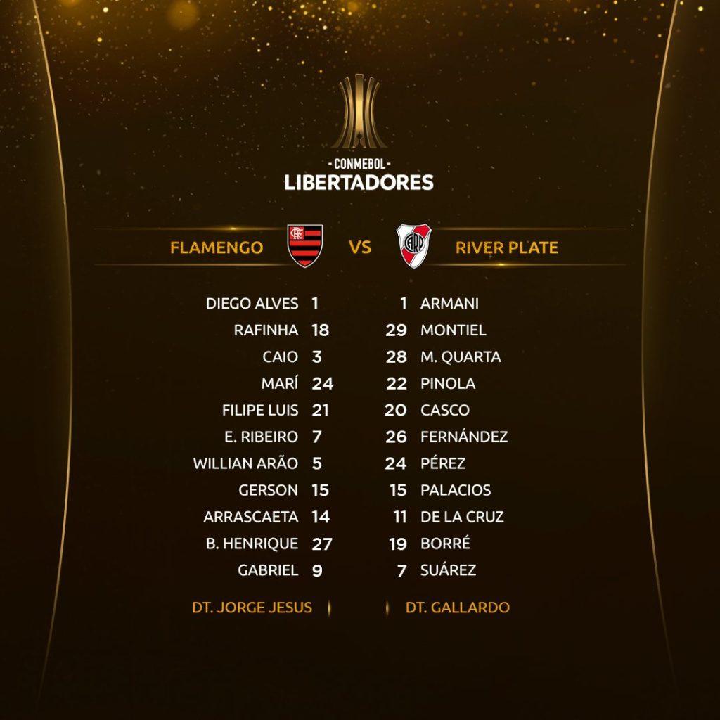 Les 11 de départ de Flamengo et River Plate