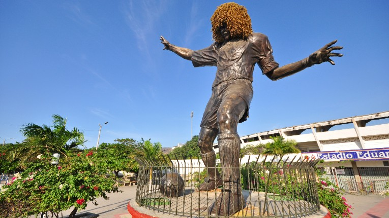 La statue de Carlos Valderrama à Santa Marta, sa ville natale.